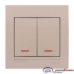 Выключатель с подсветкой 2-кл. крем, скрытой  установки  DERIY  702-0303-112
