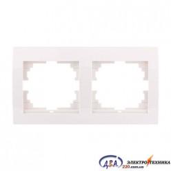 Рамка 2-ая горизонтальная б/вст,  белая  DERIY  702-0202-147