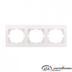Рамка 3-ая горизонтальная б/вст,  белая  DERIY  702-0202-148