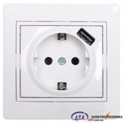 Розетка с / з  белая с белой вставкой +USB 701-0202-181 MIRA