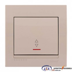 Выключатель проходной с подсветкой  1-кл. крем, скрытой  установки  DERIY  702-0303-114
