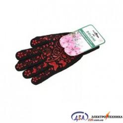 Перчатки 711 рабочие черные с голубым ПВХ-рисунком Сад и Огород (женские) Долони
