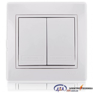 Выключатель двойной белый с белой вставкой 701-0202-101 MIRA