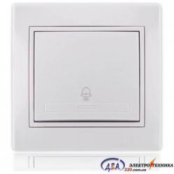 Кнопка звонка белый с белой вставкой 701-0202-103 MIRA
