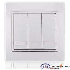Выключатель тройной белый с белой вставкой 701-0202-109 MIRA