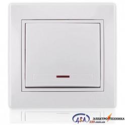 Выключатель с подсветкой белый с белой вставкой 701-0202-111 MIRA