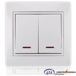 Выключатель двойной с подсветкой белый с белой вставкой 701-0202-112 MIRA