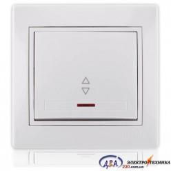 Выключатель проходной с подсветкой белый с белой вставкой 701-0202-114 MIRA
