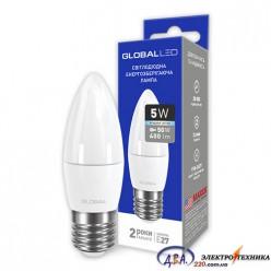 LED лампа GLOBAL C37 CL-F 5W яркий свет 220V E27 AP (1-GBL-132) 4100К
