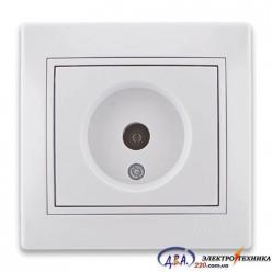Розетка ТВ проходная белая с белой вставкой 701-0202-129 MIRA