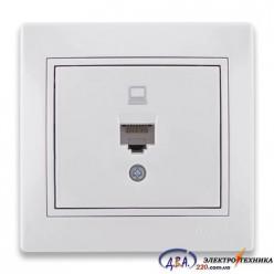 Розетка компьютерная белая с белой вставкой 701-0202-139 MIRA