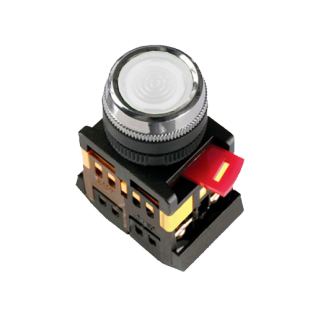 Кнопка ABLFS-22 белая d22мм неон/240В 1з+1р IEK