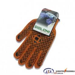 Перчатки 4470 трикотажные оранжевые с ПВХ Универсал PROFI Долони