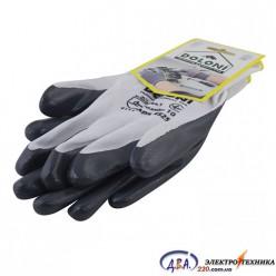 Перчатки 4525 трикотажниз нитриловым покрытием, не полный облил, вязаные манжеты, серые Долони
