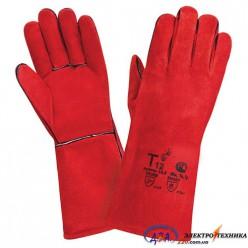 Перчатки сварщика, усиленные с подкладкой, мантеж крага, красные К-22