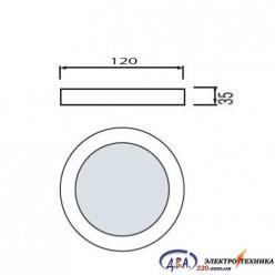 Светильник  LED-SR-120-6 6Вт 6400К круг накладной 120мм