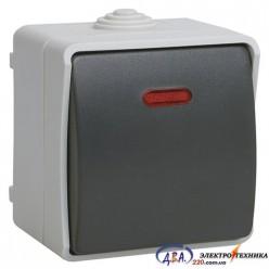 ВС20-1-1-ФСр Выключатель одноклавишный со свет. индикатором для открытой установки IP54