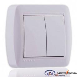 Выключатель двойной белый 2кл. 711-0200-101 DEMET