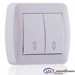 Выключатель проходной двойной белый 2кл. 711-0200-106 DEMET