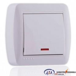 Выключатель с подсветкой белый 1кл. 711-0200-111 DEMET