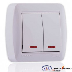 Выключатель двойной с подсветкой белый 2кл. 711-0200-112 DEMET