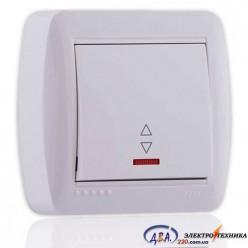 Выключатель проходной с подсветкой белый 1кл. 711-0200-114 DEMET