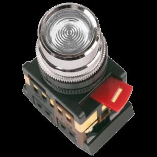Кнопка ABLF-22 белая d22мм неон/240В 1з+1р IEK