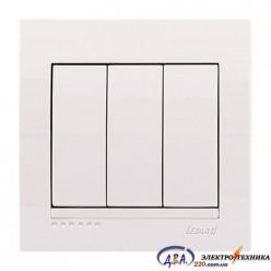 Выключатель 3-кл. белый, скрытой  установки  DERIY  702-0202-109