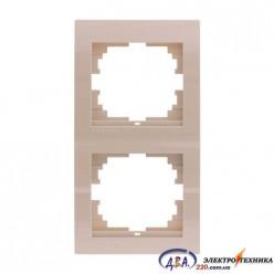 Рамка 2-ая вертикальная б/вст ,  крем  DERIY  702-0303-152