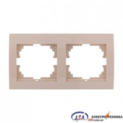 Рамка 2-ая горизонтальная б/вст,  крем  DERIY  702-0303-147