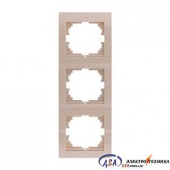 Рамка 3-ая вертикальная б/вст ,  крем  DERIY  702-0303-153