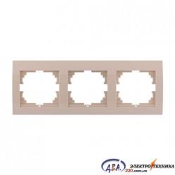 Рамка 3-ая горизонтальная б/вст,  крем  DERIY  702-0303-148