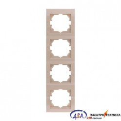 Рамка 4-ая вертикальная б/вст ,  крем  DERIY  702-0303-154
