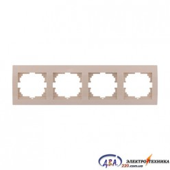 Рамка 4-ая горизонтальная б/вст,  крем  DERIY  702-0303-149