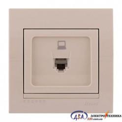 Розетка компьютерная  1-ная евро,  крем, скрытой  установки  DERIY  702-0303-139