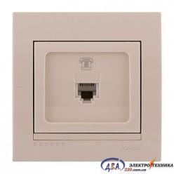 Розетка телефонная евро 1-ная,  крем, скрытой  установки  DERIY  702-0303-137
