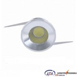 G771 led 3w /230v алюминий, круглый 6500к