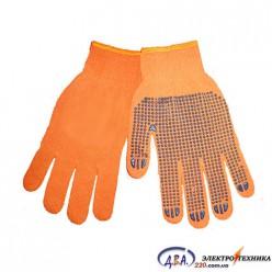 V-22 Перчатки рабочие с черной ПВХ точкой 10 разм. оранжевые (240)