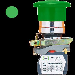 Кнопка ВК-011 НГрЗ 1З  1НО  зеленая грибовидная ( PF )
