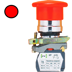 Кнопка ВК-011 НГрК 1З  1НЗ  красная грибовидная ( PF )