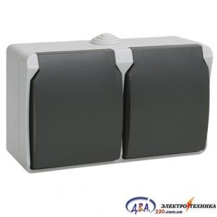 РСб22-3-ФСр Розетка 2-местная с крышкой для о/у с з/к  IP54