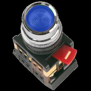 Кнопка ABLF-22 синяя d22мм неон/240В 1з+1р IEK