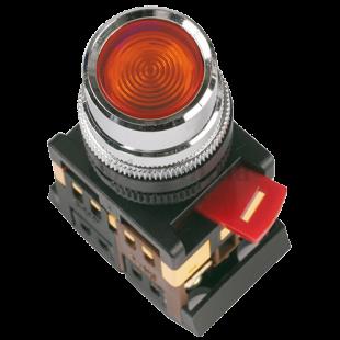 Кнопка ABLF-22 красная d22мм неон/240В 1з+1р IEK