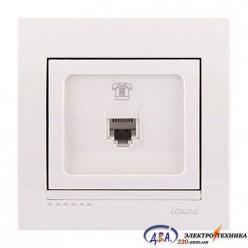 Розетка телефонная евро 1-ная,  белая, скрытой  установки  DERIY  702-0202-137