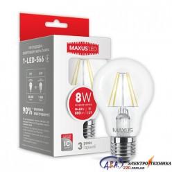 LED лампа MAXUS (филамент), А60, 8W, яркий свет,E27 (1-LED-566) 4100К