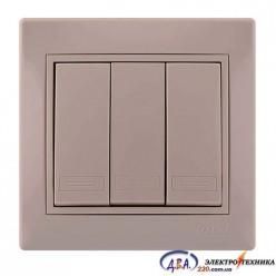 Выключатель 3кл,. MIRA 701-0303-109 крем