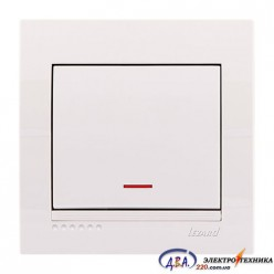 Выключатель с подсветкой 1-кл. белый, скрытой  установки  DERIY  702-0202-111