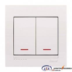 Выключатель с подсветкой 2-кл. белый, скрытой  установки  DERIY  702-0202-112