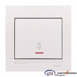 Выключатель проходной с подсветкой  1-кл. белый, скрытой  установки  DERIY  702-0202-114