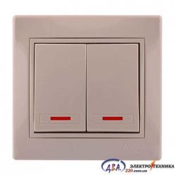 Выключатель двойной с под. крем 701-0303-112 MIRA